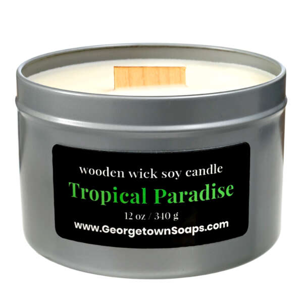 tropical paradise wooden wick soy candle