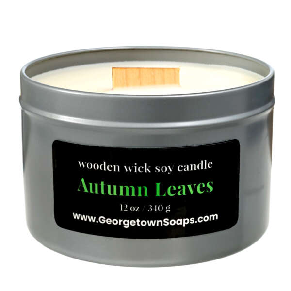 autumn leaves wooden wick soy candle