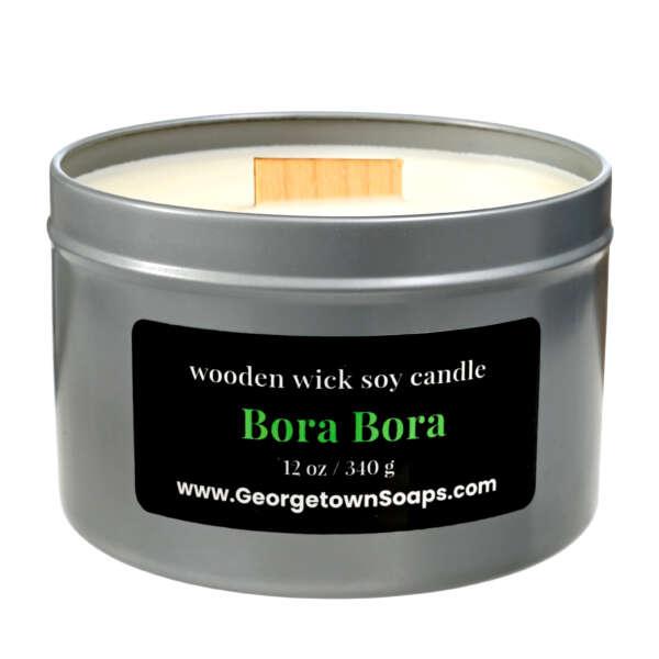 bora bora wooden wick soy candle