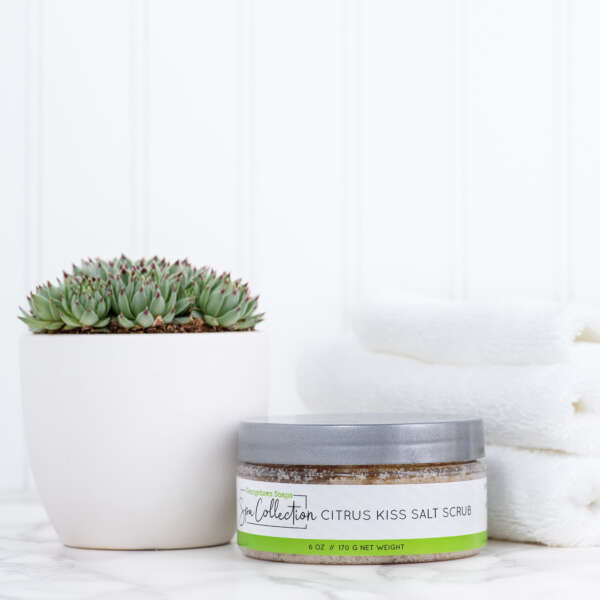 exfoliating salt scrub with essential oils