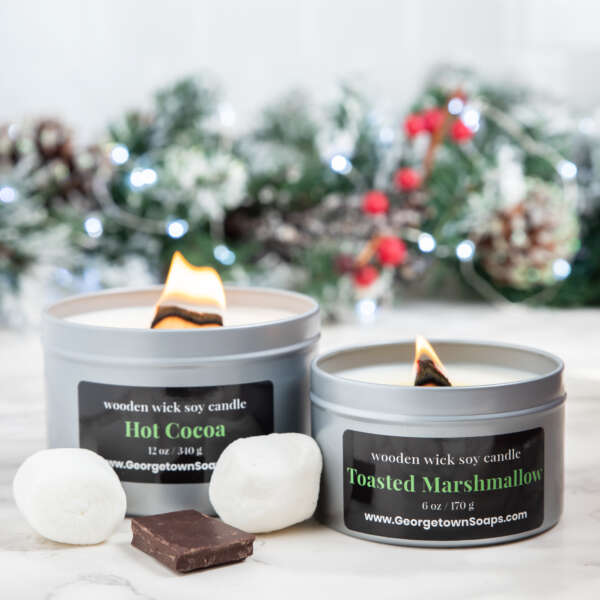 hot cocoa wooden wick soy candle toasted marshmallow wooden wick soy candle