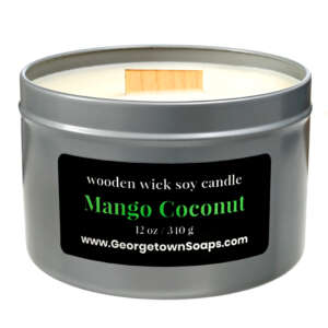 mango coconut wooden wick soy candle