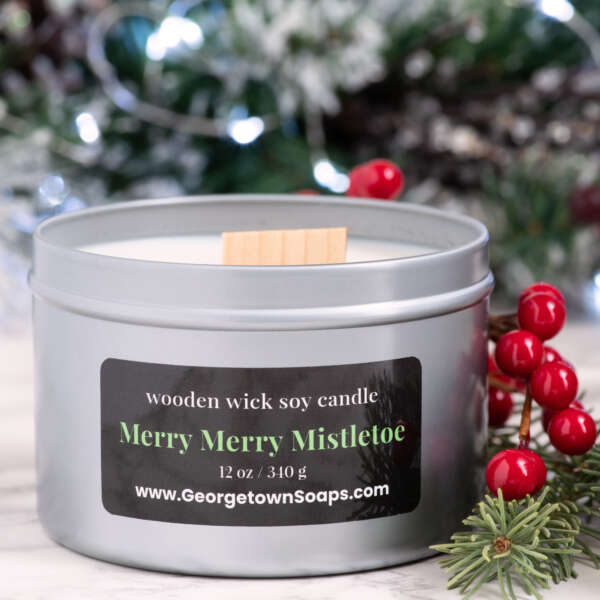 merry mistletoe wooden wick soy candle