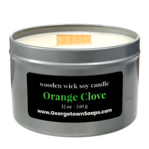 orange clove wooden wick soy candle